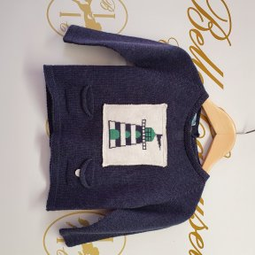 Floc baby cotton knitted navy jumper, button fastening to back.