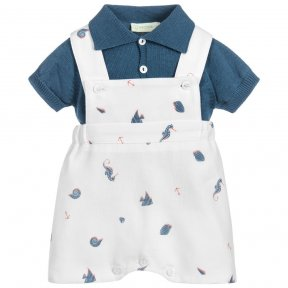 Wedoble little boys teal blue and cream seahorse romper and top set. Soft knitted teal blue front button short sleeved top. Matching cream romper with button fastening at the front and in-between leg buttons for ease. Elasticated back of waist. Cute seaho
