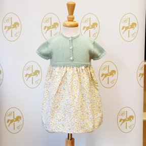 Floc baby girls  knitted dress, flower patterned material skirt, button fastening, sage green, yellow, cream