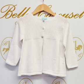 Floc baby girls white long sleeved cardigan, 3 button fastening.