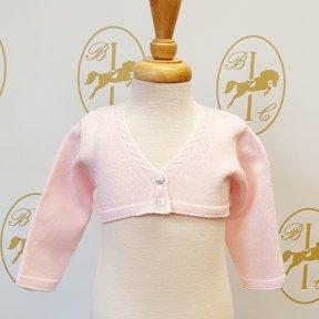 Floc baby girls pink bolero, one button fastening.