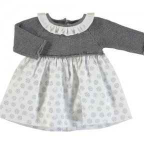 Mayoral long sleeved baby girls dress, grey knitted top, white patterned material skirt, button fastening. A/W 2021 2852