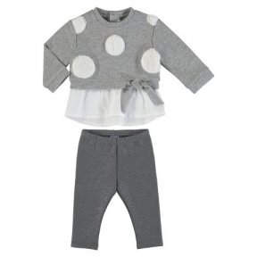 Mayoral little girls jumper and leggings set. Grey with large white polka dots top grey bottoms. A/W2021 2790