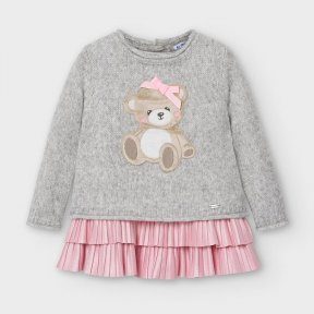 Mayoral baby girls grey knit long sleeved jumper embroidered teddy, bow. sleeveless pink under dress, pleats A/W2021 2948
