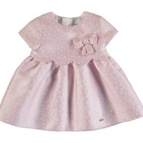 Mayoral baby girls short sleeved dress, pink, white polka dots, zip fastening. A/W2021 2945