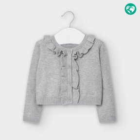 Mayoral little girls grey cardigan, ruffles, button fastening. A/W2021 2362