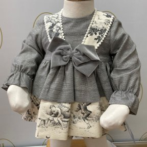 Babine little girls long sleeved dress, grey, cream, print design, bow matching jam pants