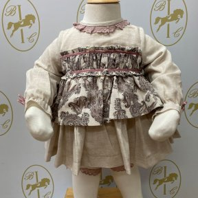 Babine long sleeved dress, baby, beige, paisley print, jam pants