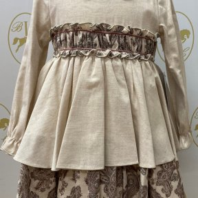 Babine long sleeved collared dress, beige, paisley print, bow detail.