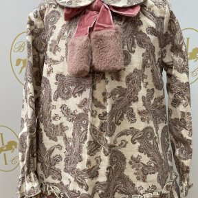 Babine long sleeved collared paisley print dress, velvet faux fur bow.