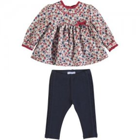 Mayoral floral blouse and legging set, red, navy, blue, bow. A/W 2021 2788