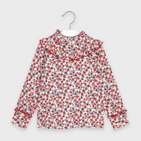 Mayoral Mini Girls floral blouse, red, blue. ruffles A/W2021 4152