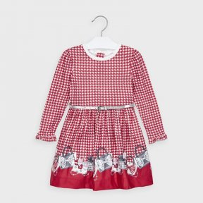 Mayoral mini girls red and white patterned dress, long sleeves, belt A/W2021 4963