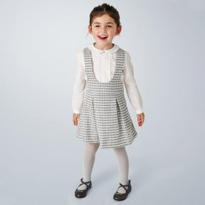 Mayoral mini girls grey pinafore & ivory blouse set, dog tooth pattern A/W 2021  4991