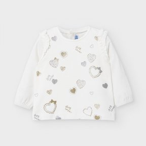 Mayoral baby girls long sleeved cream ruffle t-shirt, popper fastening, gold, silver glitter appliques A/W2021 2056