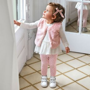 Mayoral baby girls set, pink leggings, cream top with tulle detail, pink faux fur vest A/W2021 2784