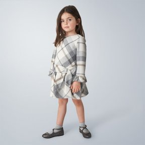 Mayoral mini girls long sleeved checked dress, cream, grey, brown, bow A/W2021 4969