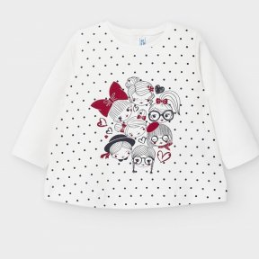 Mayoral baby girls long sleeve cream top, black polka dot, girls print design A/W2021 2059