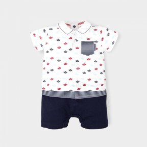 Little boys red, white and blue romper with a boat pattern