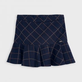 Mayoral mini girls navy, red check skirt, adjustable waist A/W2021 4957