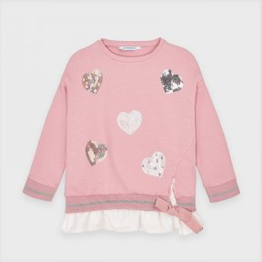 Mayoral mini girls pink sweatshirt, sparkly heart design, white frill to bottom A/W2021 4401