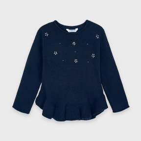 Mayoral mini girls navy jumper, ruffle bottom, sparkly detail. A/W 2021 4344