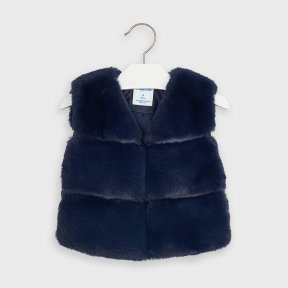 Mayoral mini girls navy faux fur gilet, hook and eye fastening A/W2021 4351