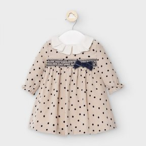 Mayoral newborn girls long sleeved beige polka dot dress, round ruffled collar, bow. 2872 AW2021