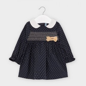 Mayoral baby girls navy long sleeved dress, polka dot design, collar, bow. 2956 AW2021