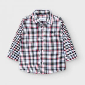 Mayoral baby boys long sleeved checked shirt, red, blue, navy, white, button fastening. 2133 AW2021