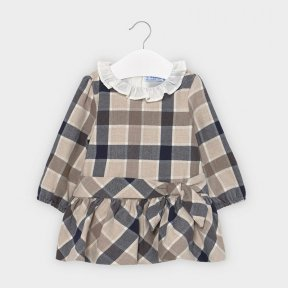 Mayoral baby girls long sleeved checked dress, round neck with collar, zip fastening, navy, cream, brown 2959 AW20