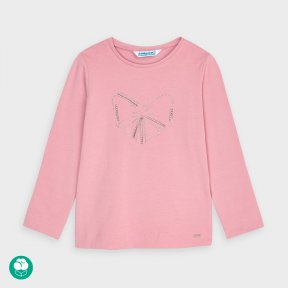 Mayoral mini girls long sleeved pink top, diamante bow detail 178 A/W 20
