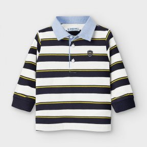 Mayoral baby boys long sleeved striped polo shirt, blue collar, white, navy, yellow  2123 AW20