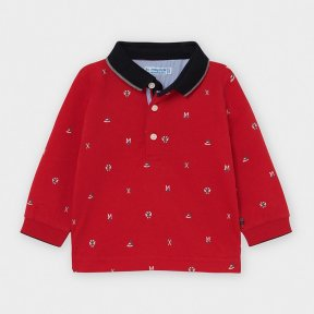 Mayoral baby boys long sleeved red polo top, navy collar, print design 2124 AW20