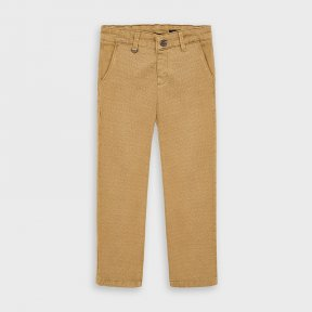 Mayoral mini boys beige, patterned straight chino trousers, button and zip fastening, elasticated, adjustable waistband 4529 AW20
