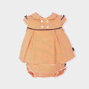Tutto Piccolo girls orange stripe dress and pants set.