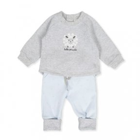 Tutto Piccolo set, Grey top, popper fastening, lamb embroidery, pale blue bottom, elasticated waist, lamb print 9586