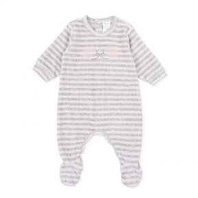 Tutto Piccolo velour baby grow, grey, pink, stripe, embroidered hedgehogs 9081