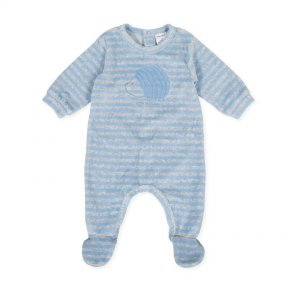 Tutto Piccolo velour baby grow, grey, blue stripe, hedgehog 9080
