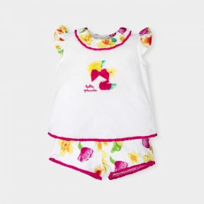 Tutto Piccolo floral girls shorts and t-shirt set