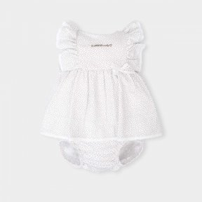 Tutto Piccolo little girls grey and white dress with pants with lace detail.
