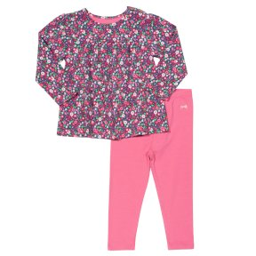 Kite Clothing hedgerow print tunic and leggings set, pink, green, purple, elasticated waist, organic cotton