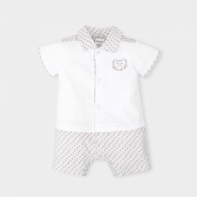 Tutto Piccolo little boys grey and white romper