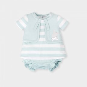 Tutto Piccolo Sea Green striped dress and pants set.