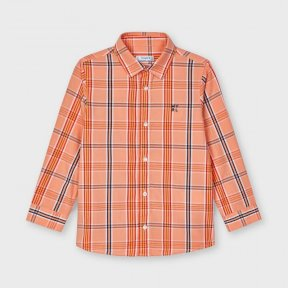 Mayoral large check shirt, orange, yellow, navy, white, button fastening 3126