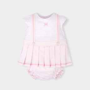 Tutto Piccolo little girls striped pink and white pleated dress and pant set