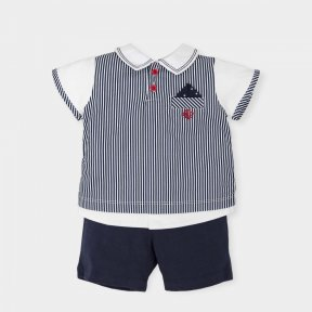 Tutto Piccolo little boys navy blue and white striped short set