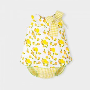 Tutto Piccolo little girls yellow and white pattered dress with bow detail & gingham pants.