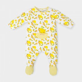 Tutto Piccolo White babygrow embellished with a lemon fruit pattern and yellow gingham detail.