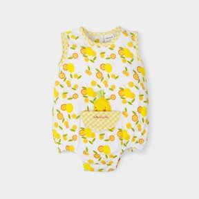 Tutto Piccolo white with lemon and gingham patterned romper.